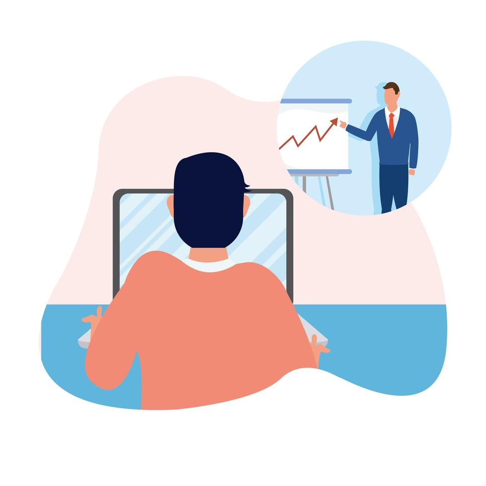 man met laptop en zakenman met bord vector design