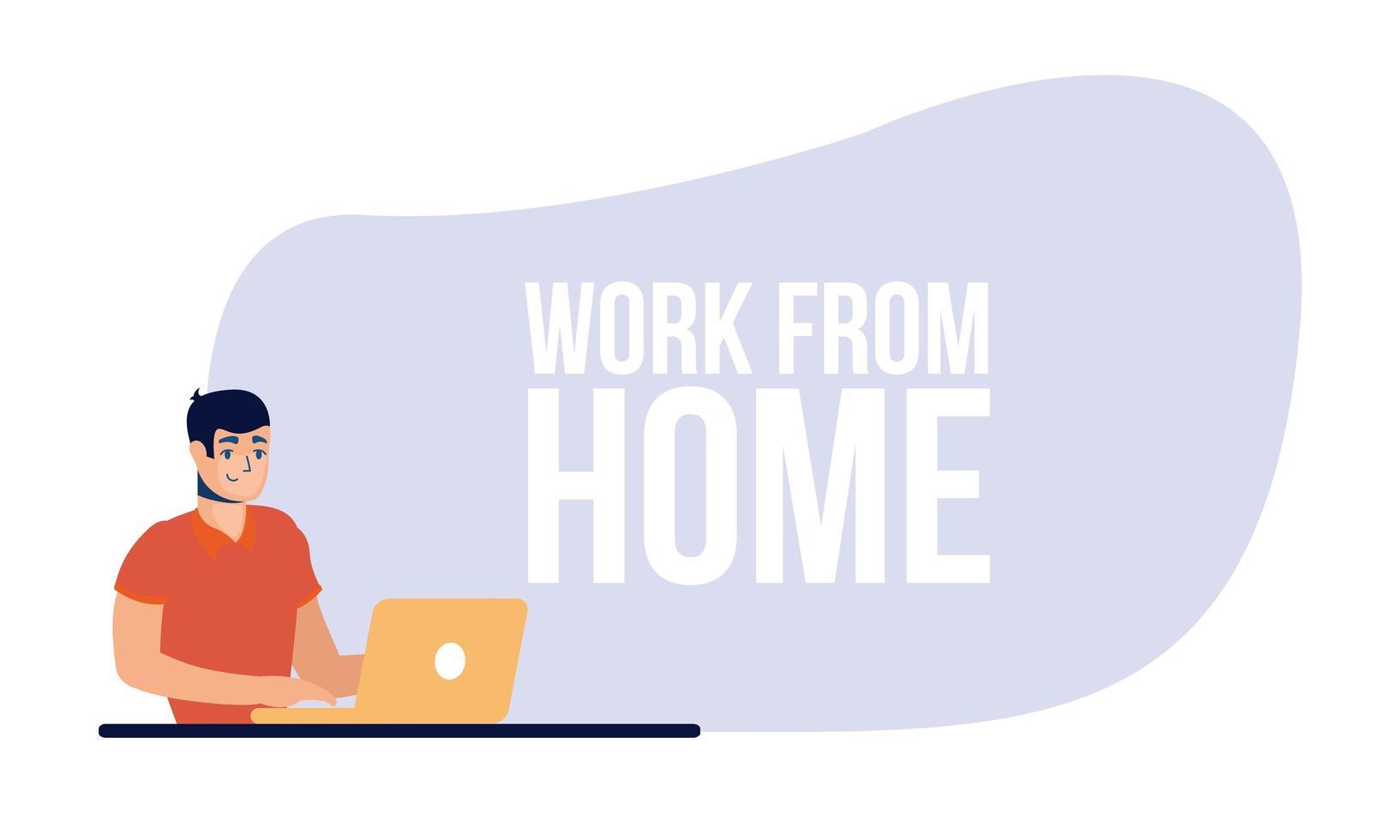 man met laptop en werk vanuit huis vector ontwerp