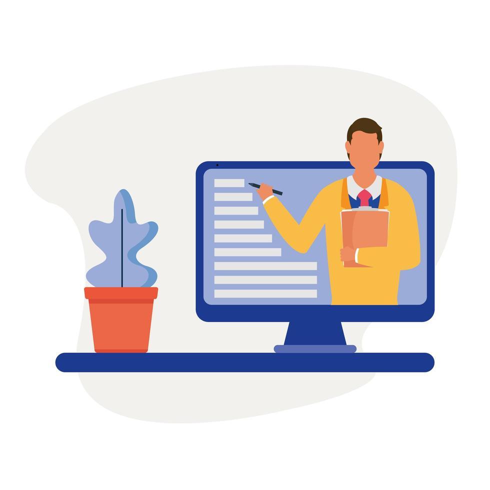 man op computer en plant in pot vector design