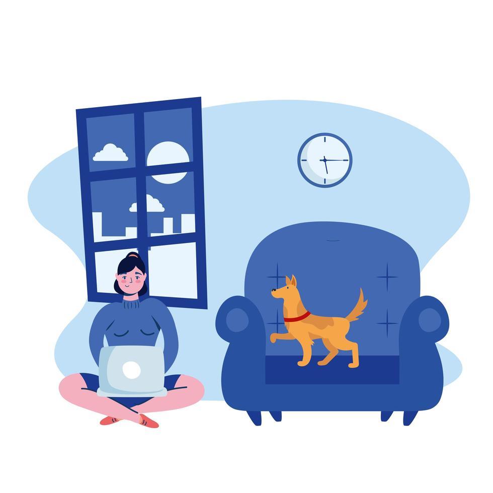 vrouw met laptop en hond op stoel vectorontwerp vector