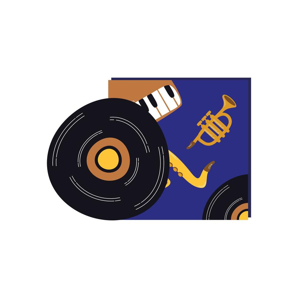 muziek vinyl schijf record geïsoleerd pictogram vector