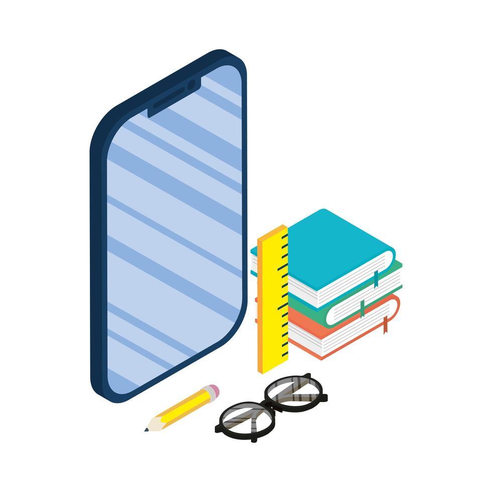 smartphoneapparaat elektronisch met e-boeken en benodigdheden vector