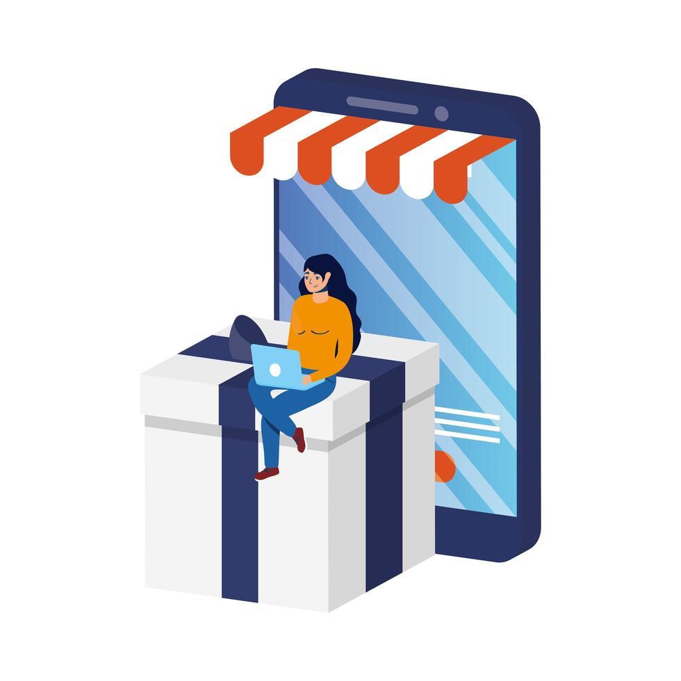 zakelijke online e-commerce met vrouw met behulp van laptop en smartphone vector