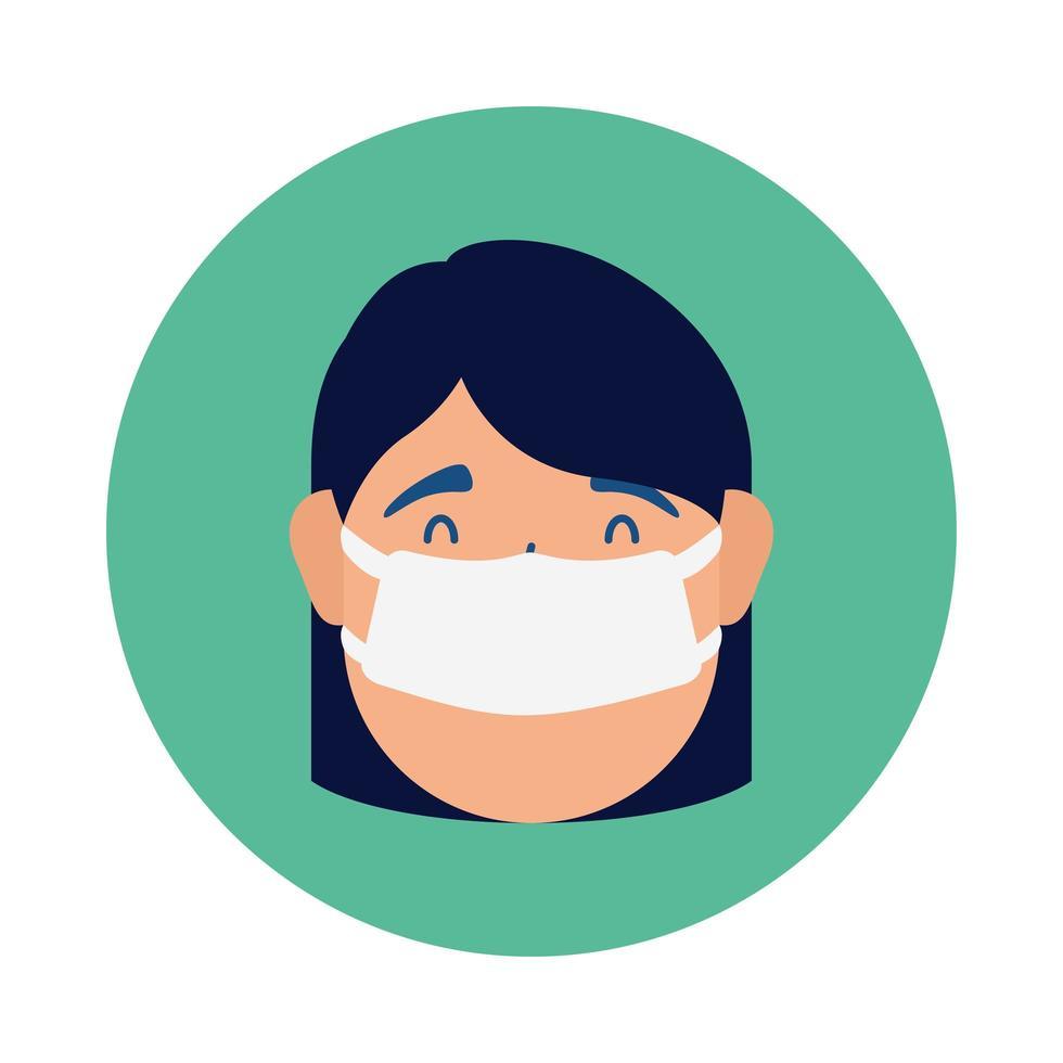jonge vrouw die medisch maskerkarakter draagt vector