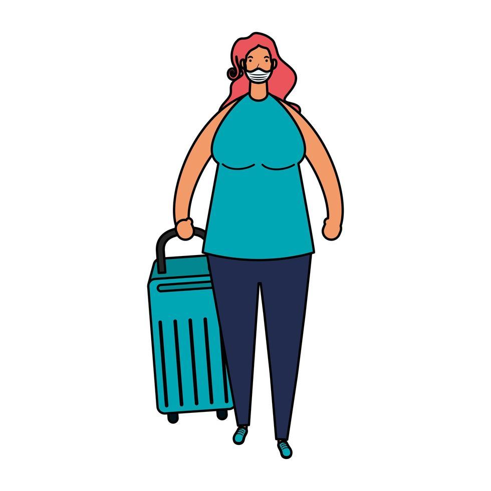jonge vrouw die medisch masker met kofferkarakter draagt vector