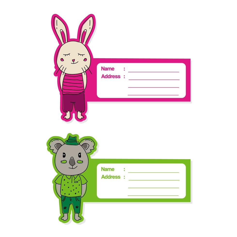 schattige dieren label tag set vector