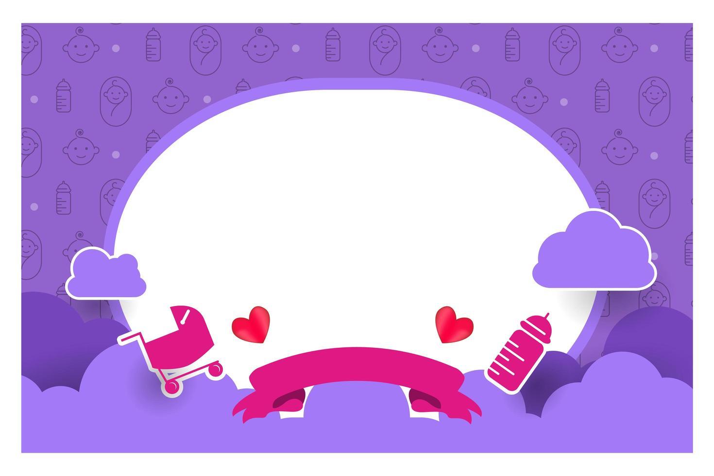 paars baby shower kaartsjabloonontwerp voor afdrukken vector