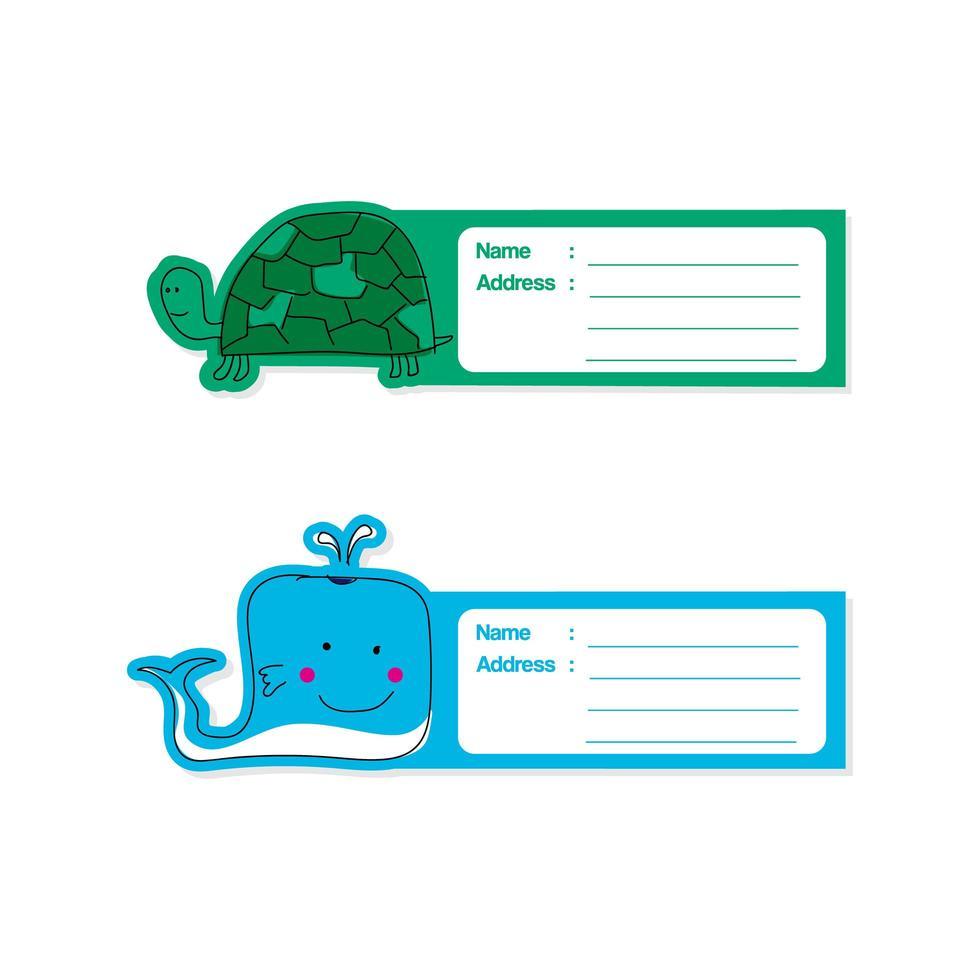 klein dier labelsjabloon set vector