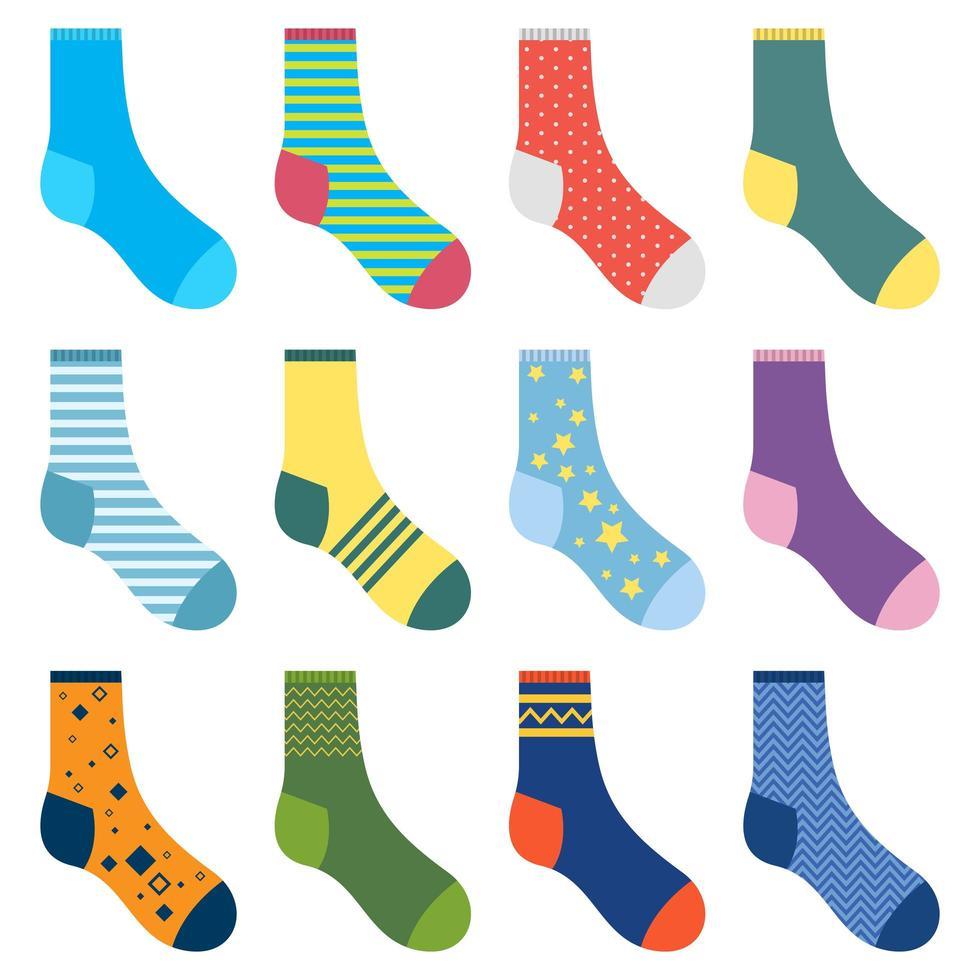 verschillende sokken vector ontwerp illustratie geïsoleerd op een witte achtergrond