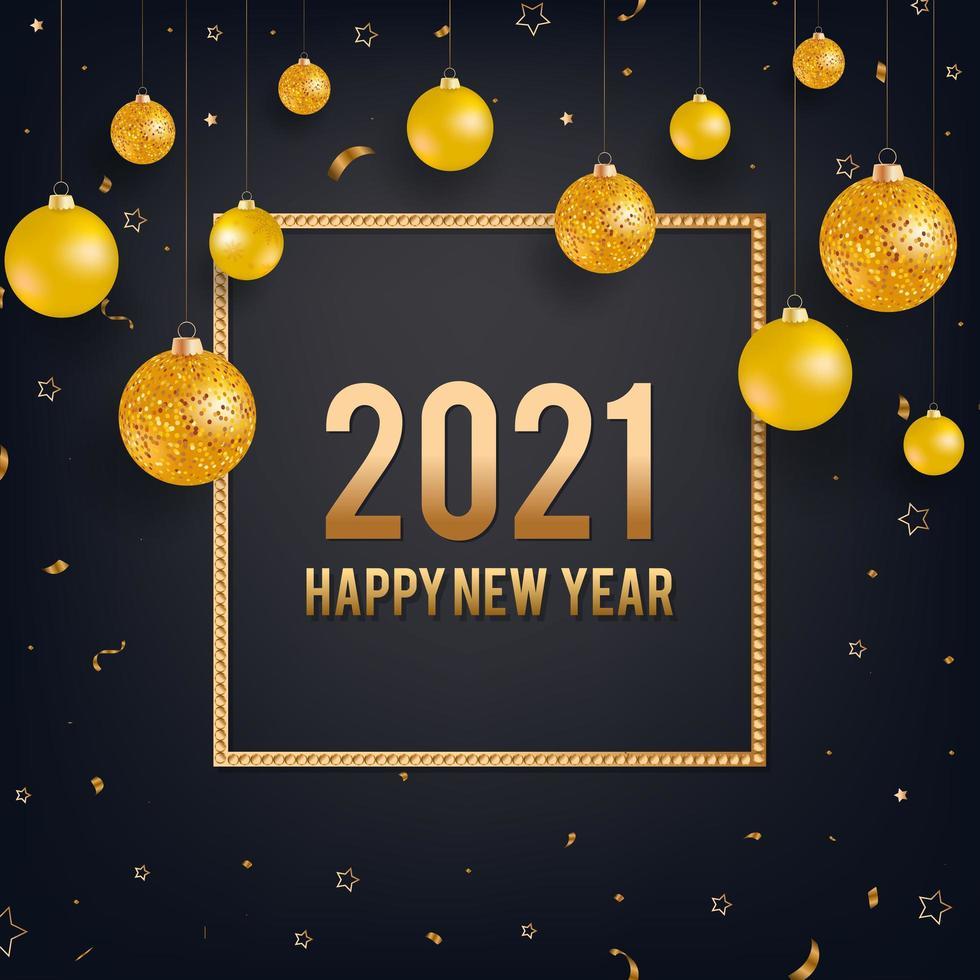 gelukkig nieuwjaar zwarte achtergrond met gouden kerstballen vector