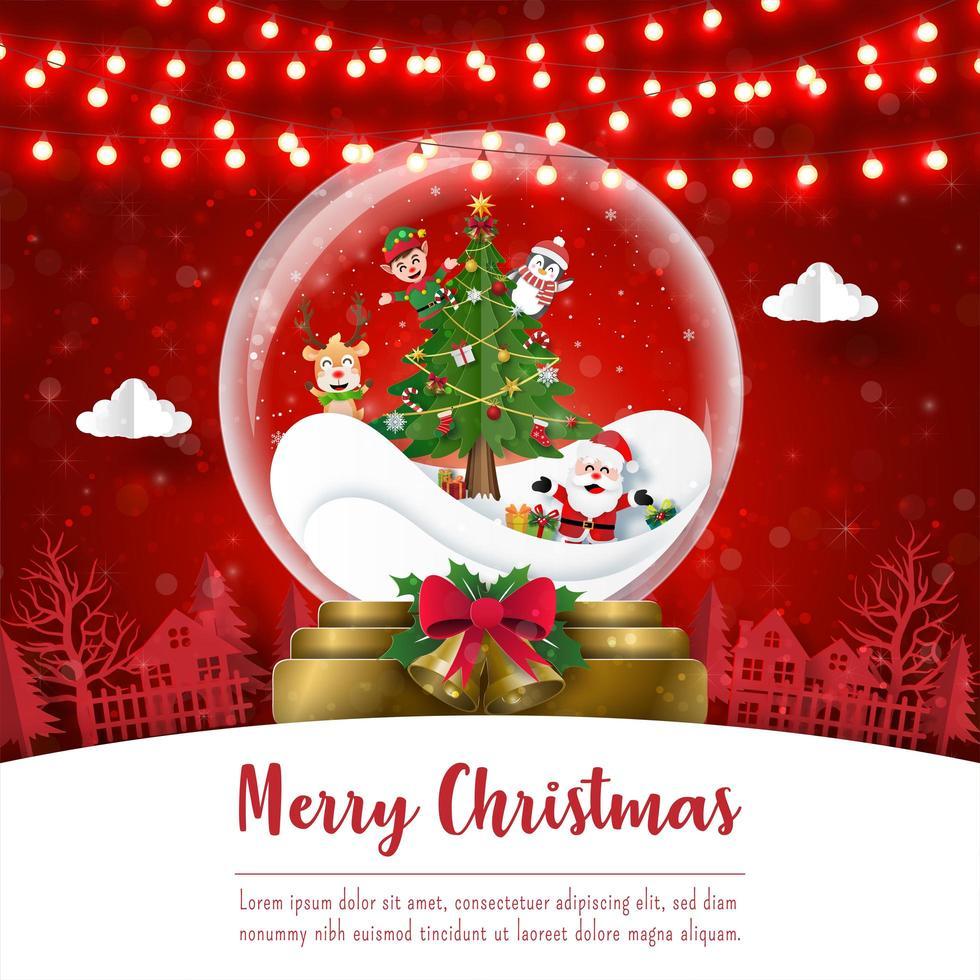 prettige kerstdagen en gelukkig nieuwjaar, kerstprentbriefkaar van de kerstman en vrienden in kerstbal, papieren kunststijl vector