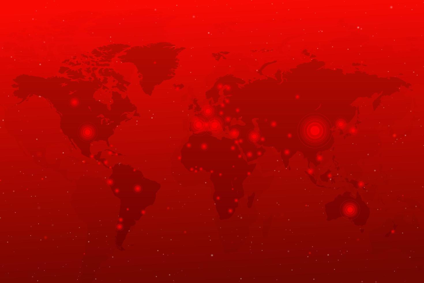 verspreiding van coronavirus vanuit China over de hele wereld. covid 19 kaart bevestigde gevallen wereldwijd rapporteren vector