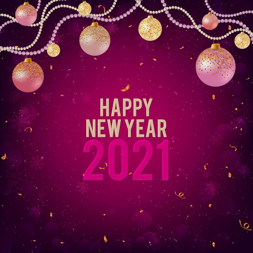 gelukkig nieuwjaar 2021 roze achtergrond met kerstballen vector