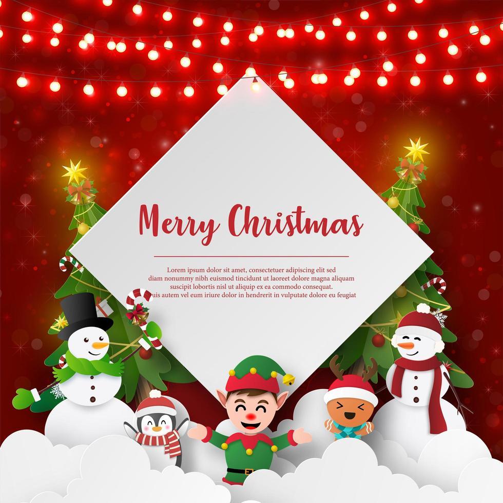 ansichtkaart met kerstthema van sneeuwpop en vrienden vector