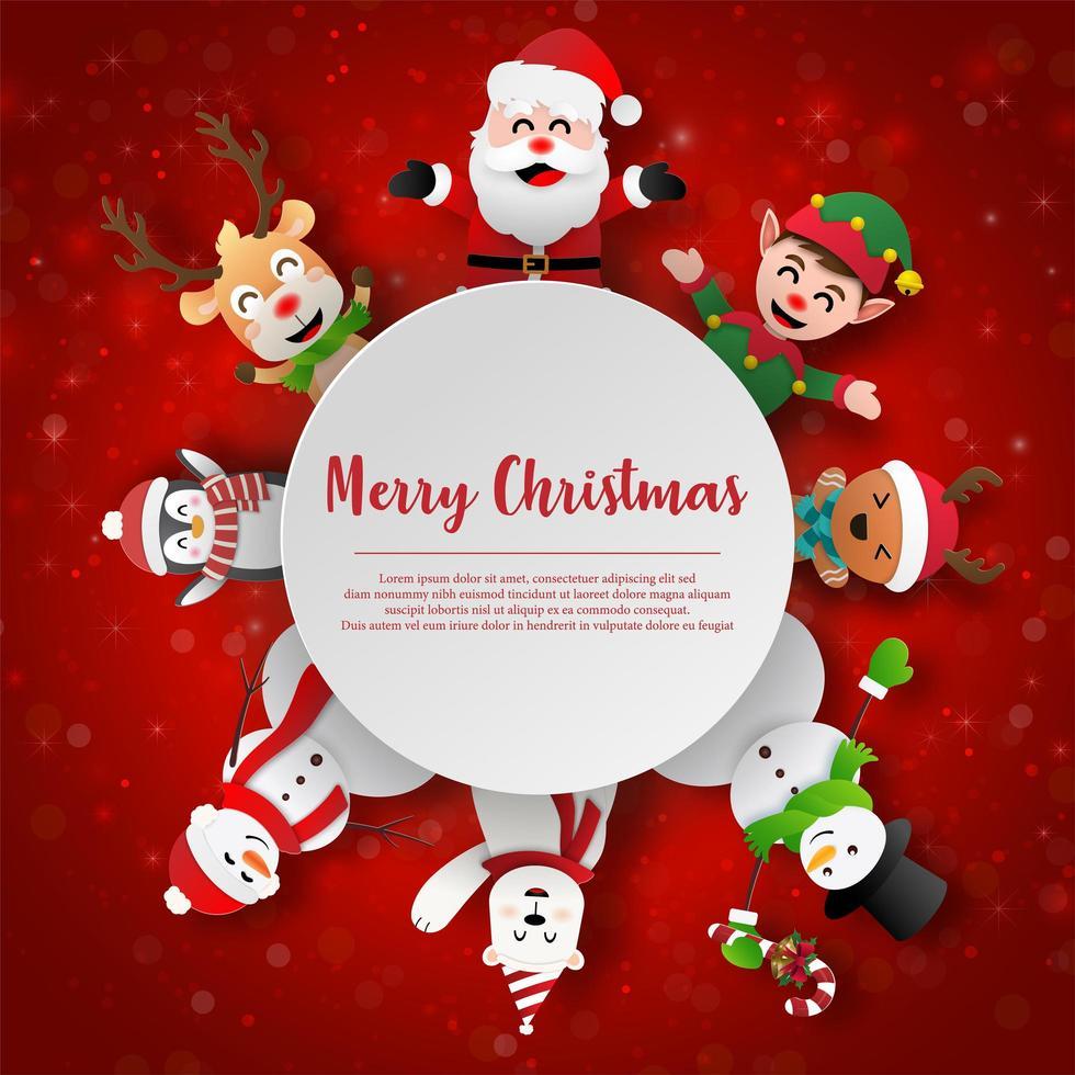 papierkunst kerstman en vrienden met kopie ruimte, prettige kerstdagen en gelukkig nieuwjaar vector