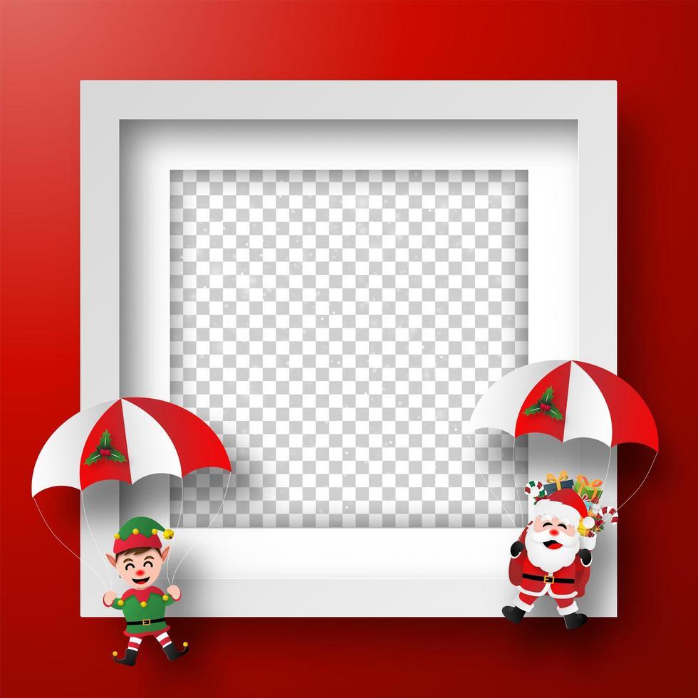 Kerstkader met de kerstman en elf vector