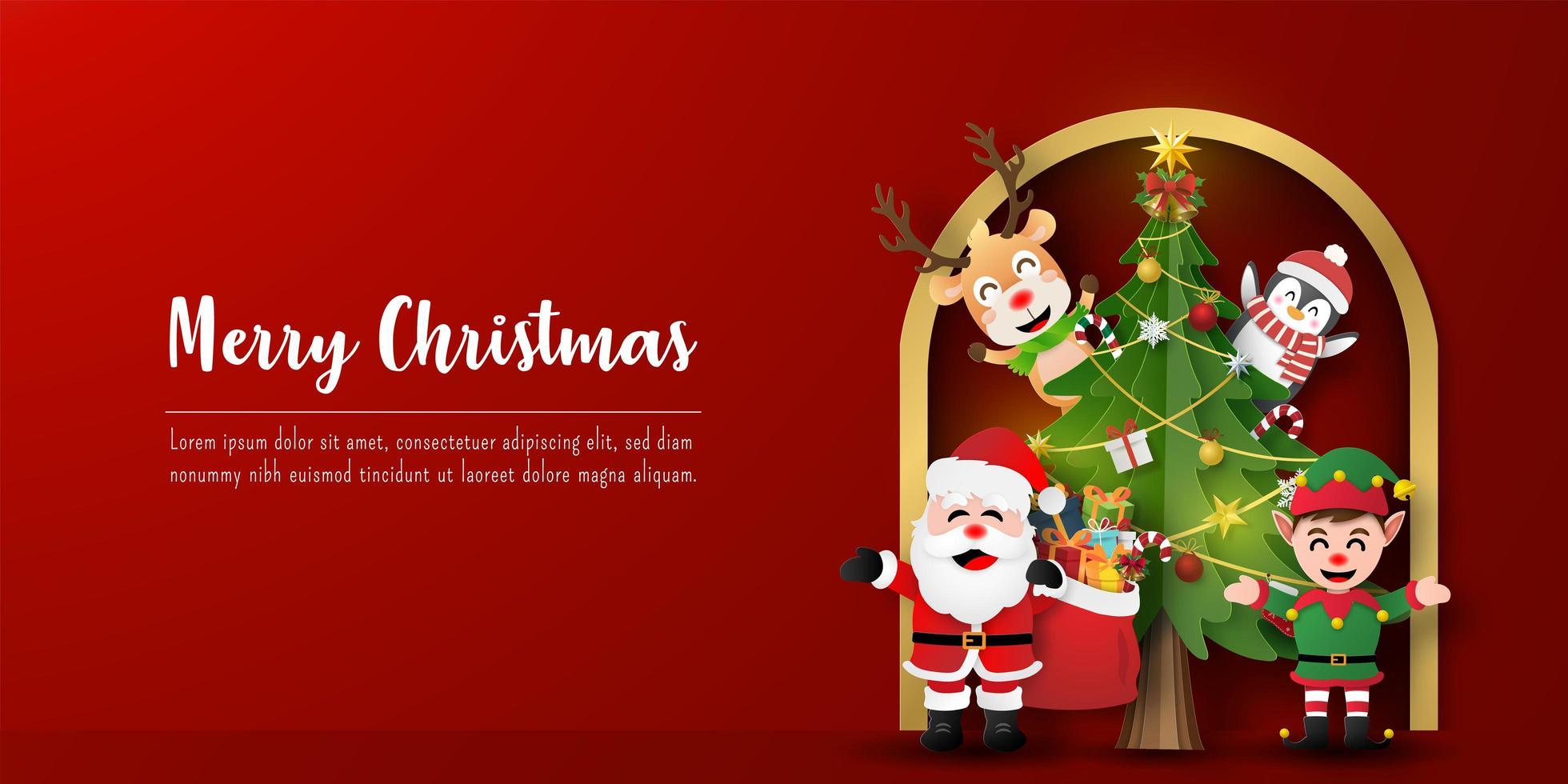 kerst briefkaart banner van de kerstman en vrienden met kerstboom vector