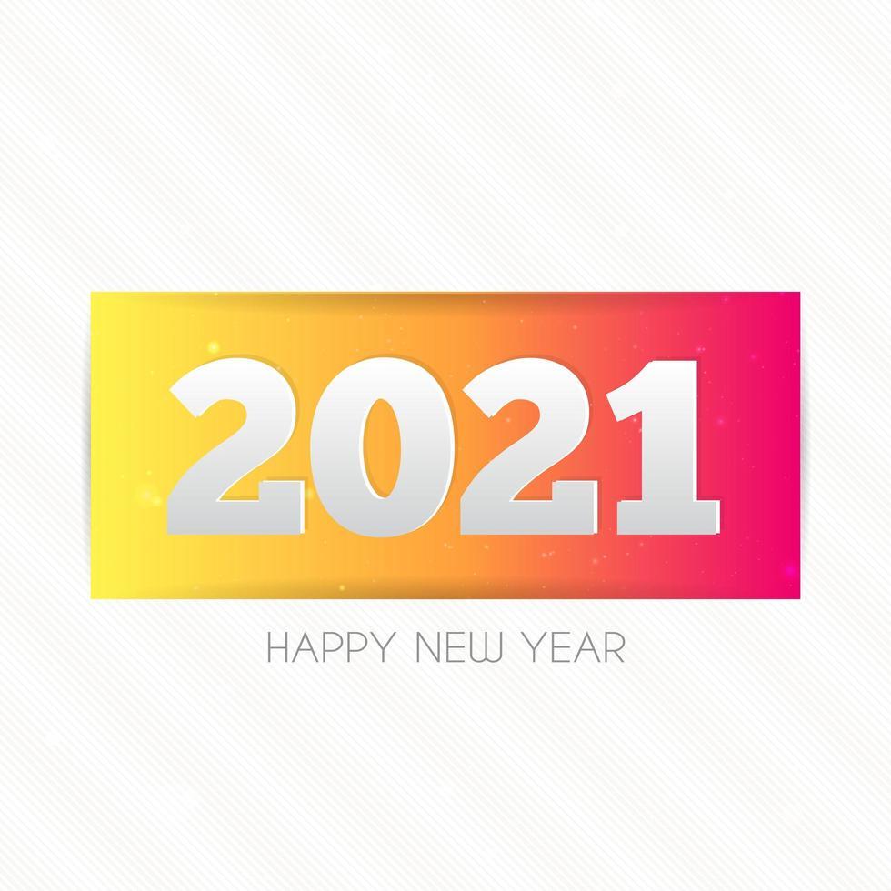 2021 gelukkig Nieuwjaar ontwerp met tekst op witte achtergrond. vector