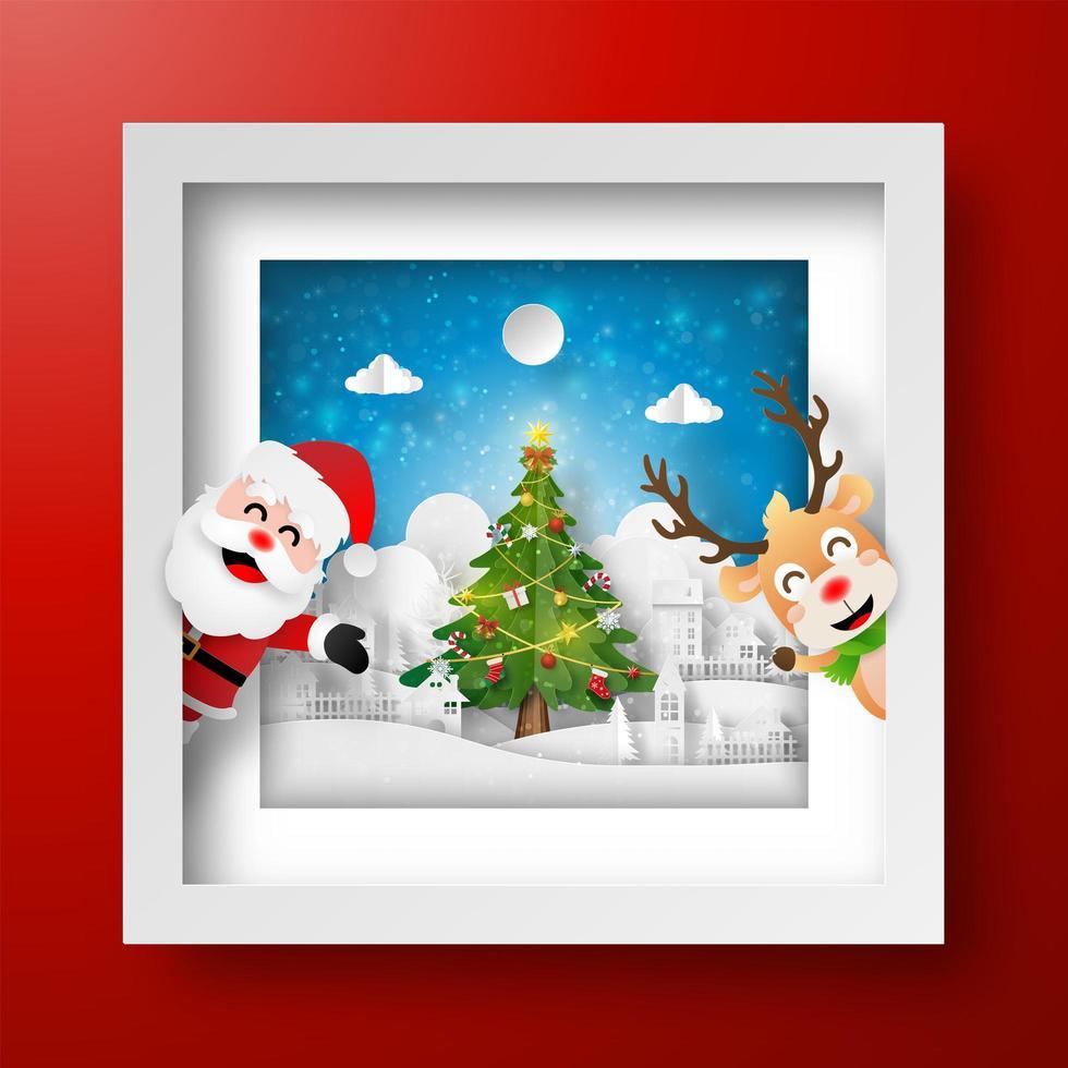 Kerstkader met de kerstman en rendieren vector