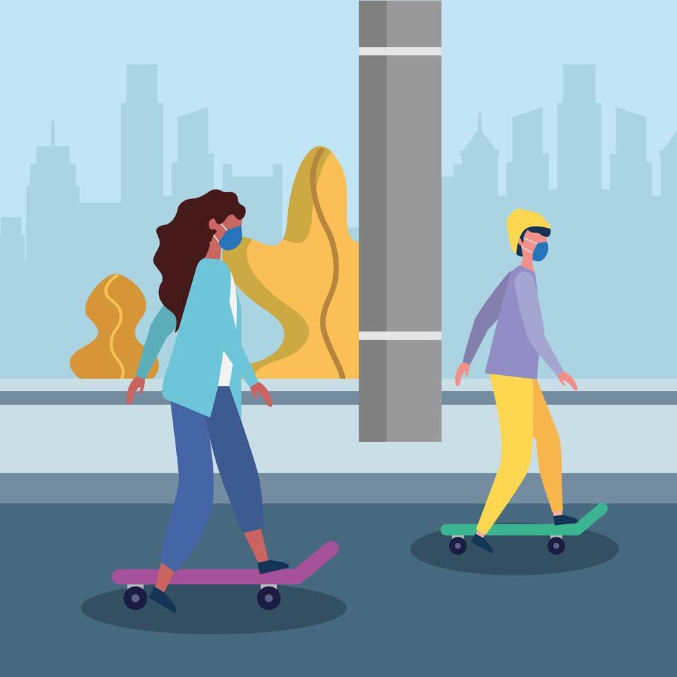 vrouw en man met medisch masker bij straat vectorontwerp vector