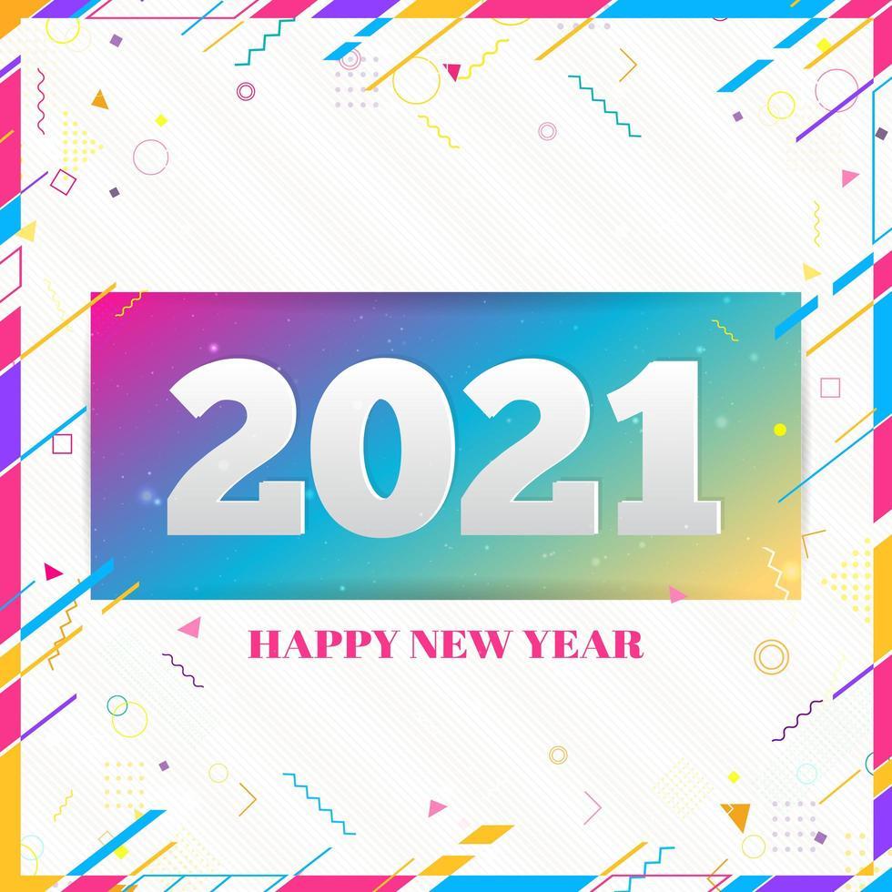 creatieve gelukkig nieuwjaar 2021 ontwerpkaart op moderne achtergrond vector