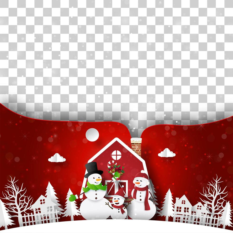 Kerst ansichtkaart van rood huis met sneeuwpop, lege ruimte voor uw tekst of foto vector