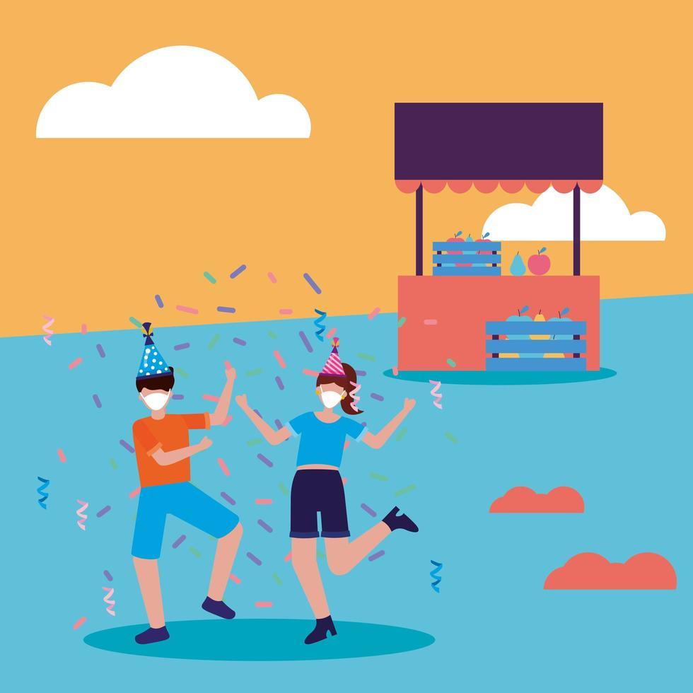 mensen met medische maskers en feestmutsen bij park met winkel vectorontwerp vector