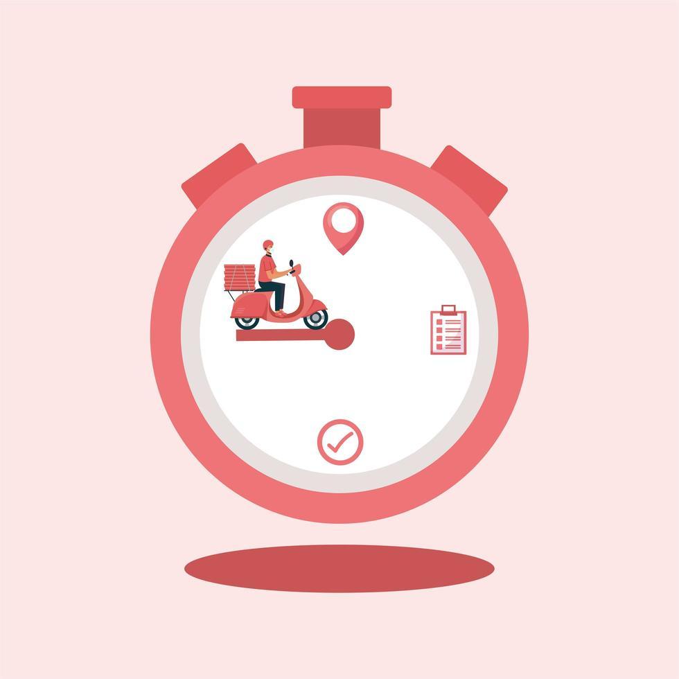 bezorger met masker motorfiets en dozen op chronometer vector ontwerp