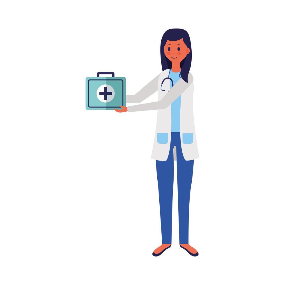 vrouwelijke arts met uniform en kit vector design