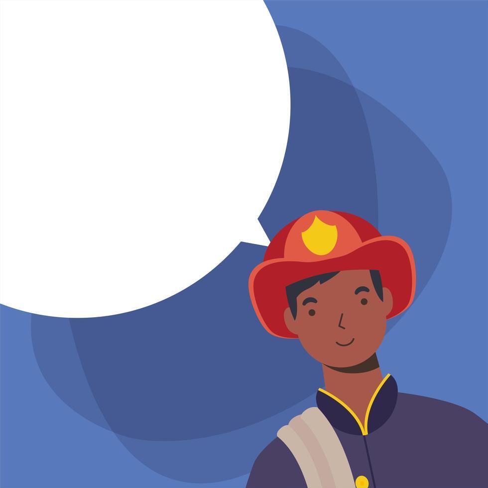 brandweerman man werknemer met bubble vector design