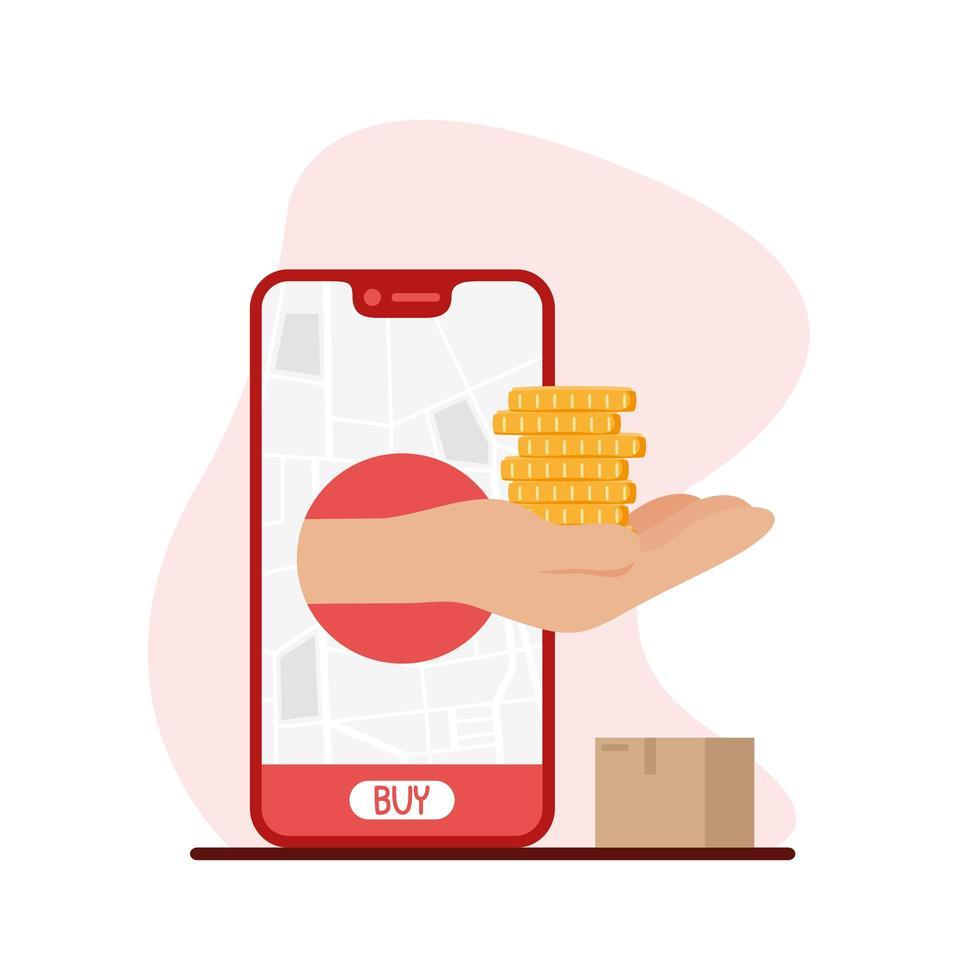 smartphone met leveringskaart en munten bij de hand vectorontwerp vector
