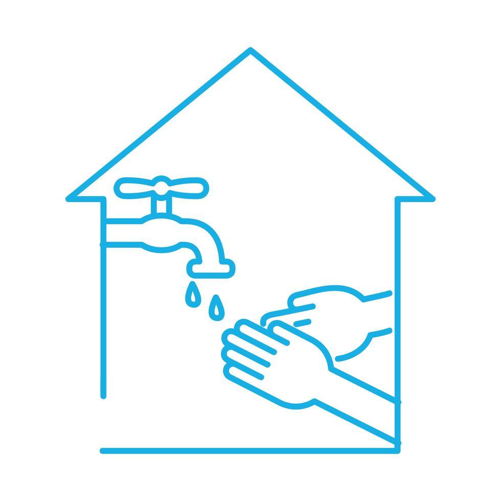 handen wassen in kraan lijn stijlicoon vector
