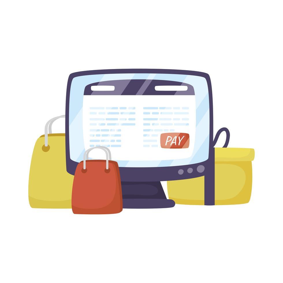 desktop met boodschappentassen e-commerce technologie vector