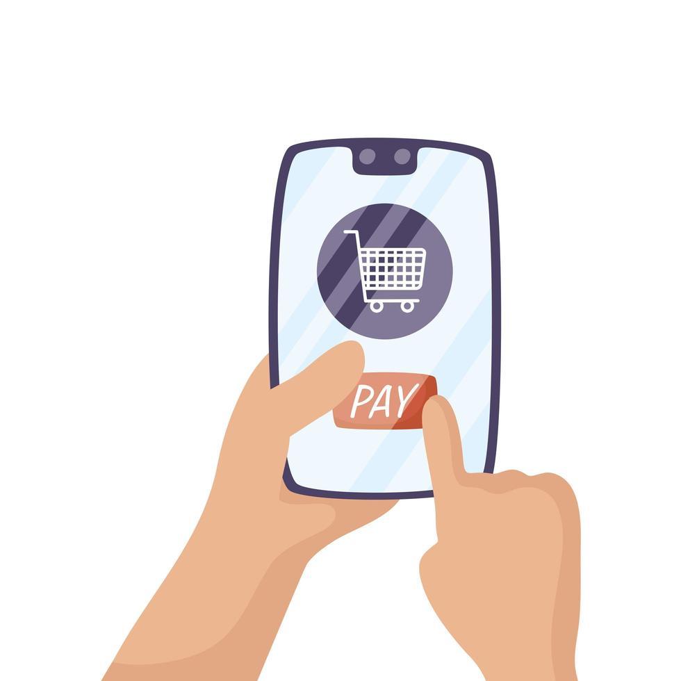 smartphone met winkelwagen e-commerce vector