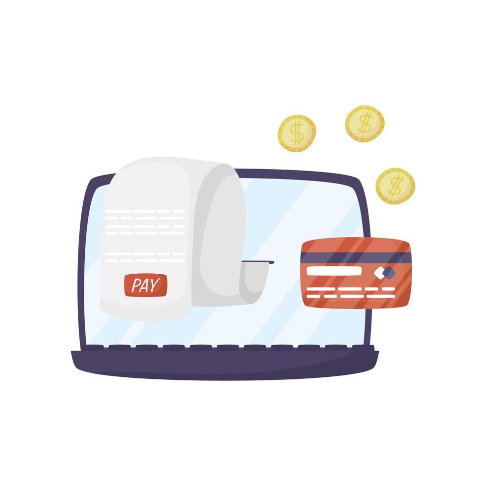 laptop met creditcard en munten vector