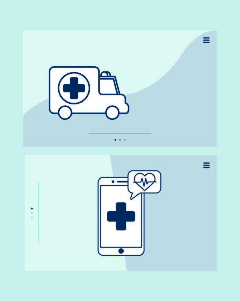 smartphone met telegeneeskunde-technologie en ambulance vector