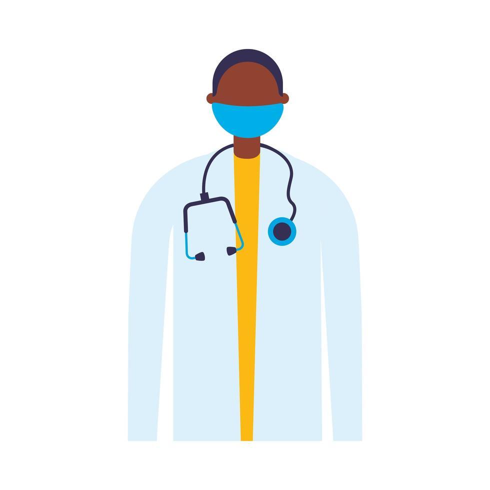 mannelijke arts met uniform en masker vectorontwerp vector