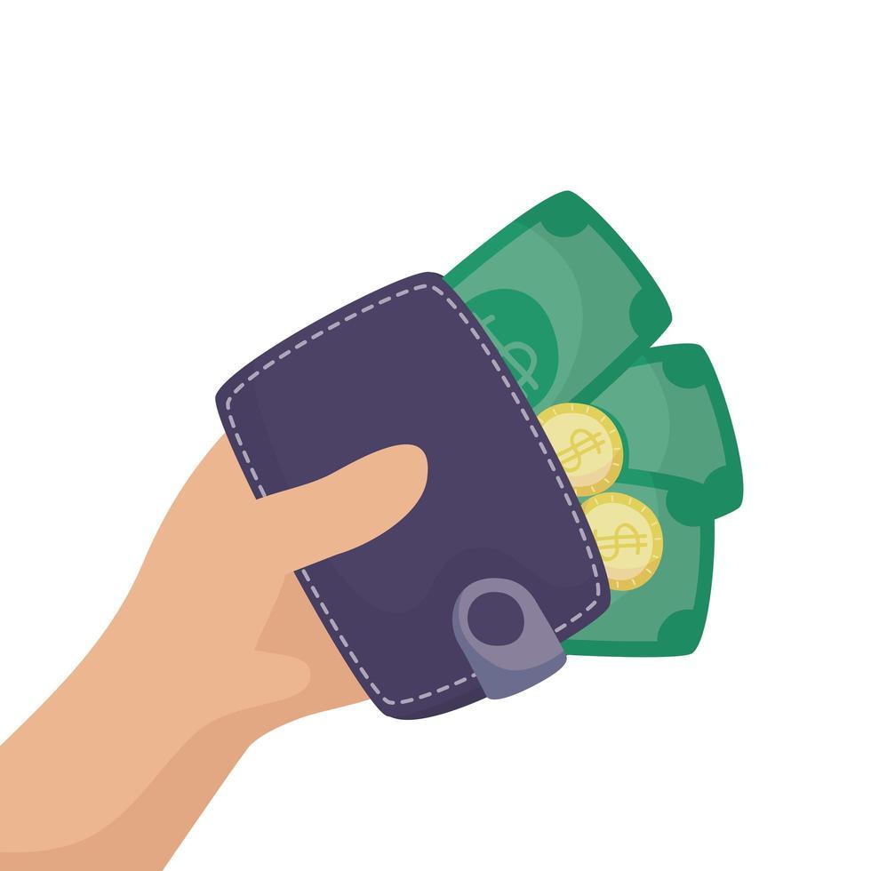 portemonnee geld met rekeningen en munten vector