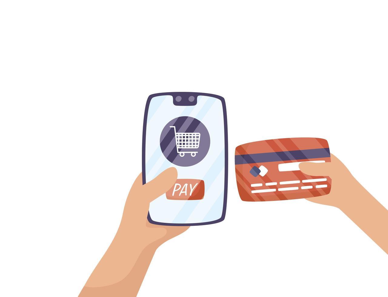 smartphone met winkelwagentje en creditcard vector