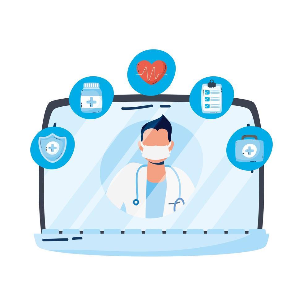 professionele arts met een stethoscoop in laptop vector
