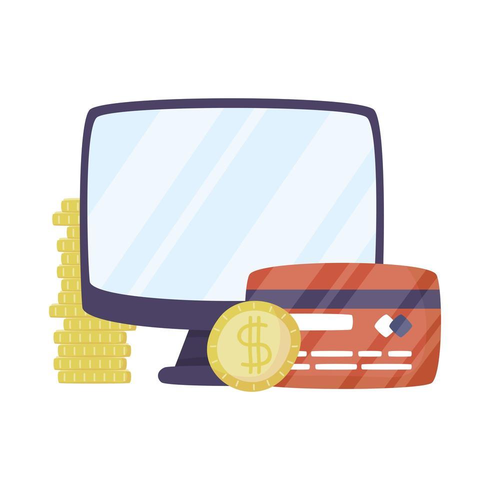 desktop met creditcard en munten vector