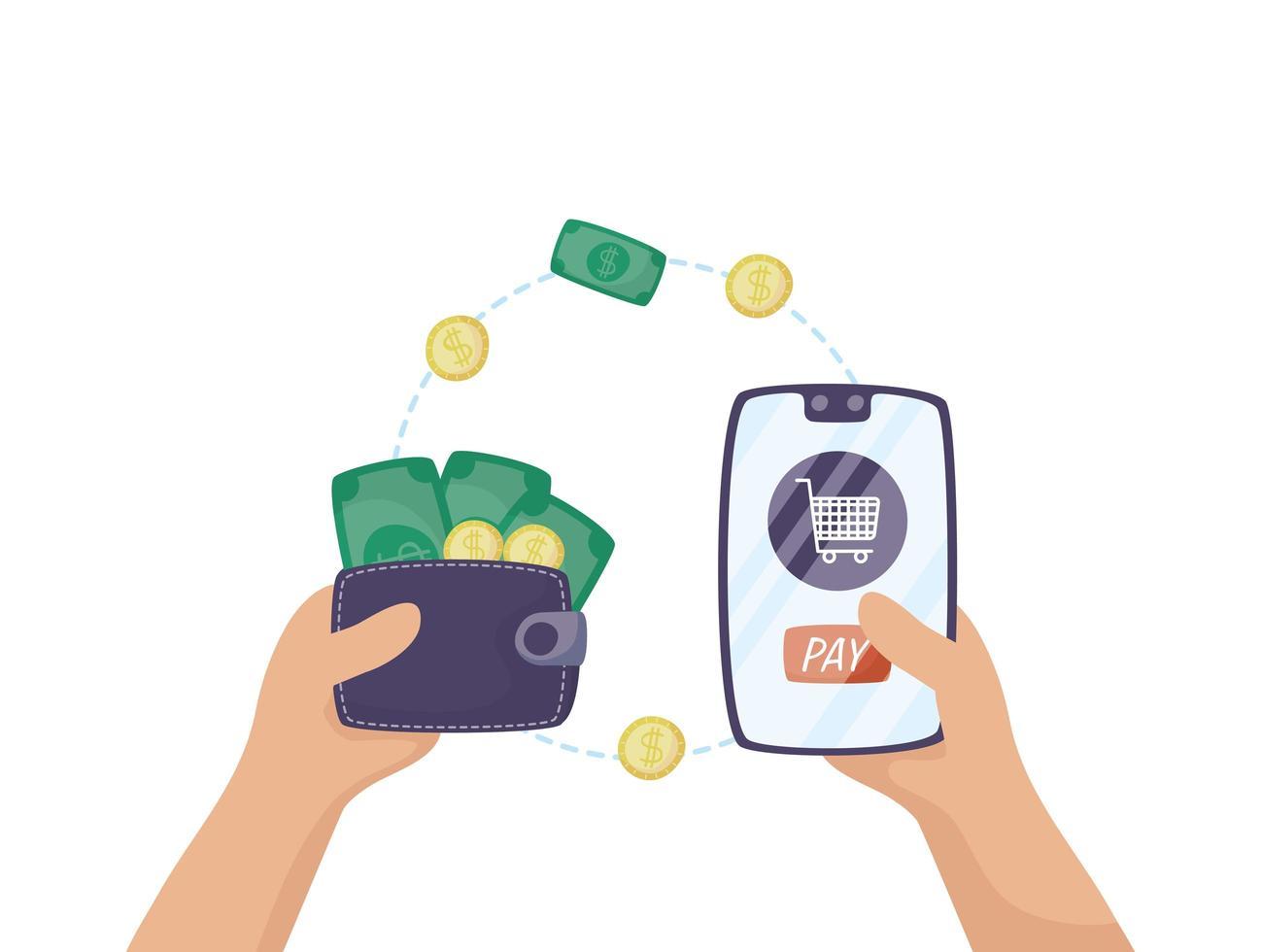 smartphone met winkelwagentje en portemonnee geld vector