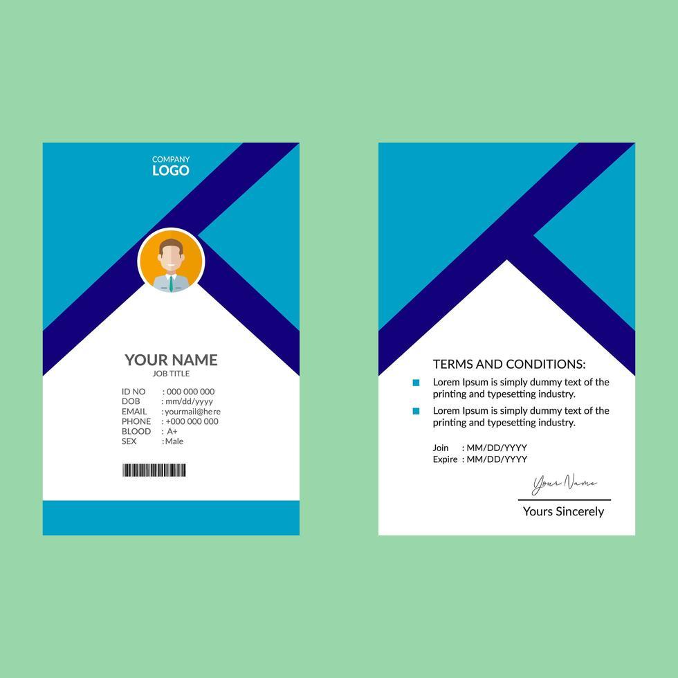 blauwe elegante identiteitskaart ontwerpsjabloon vector