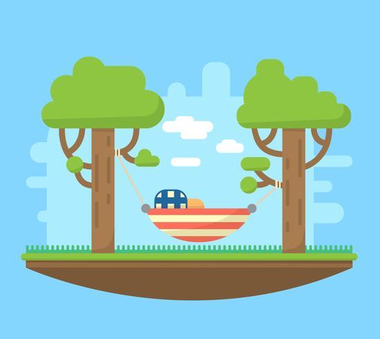 Hangmat tussen bomen vector