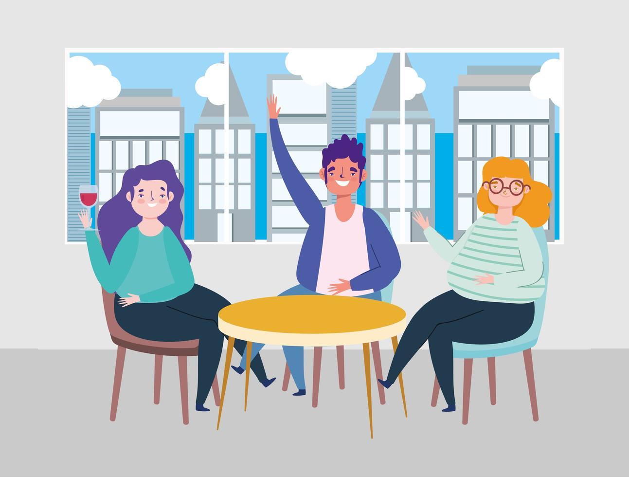 sociaal afstandelijk restaurant of een café, gelukkige mensen die afstand houden aan tafel, covid 19 coronavirus, nieuw normaal leven vector