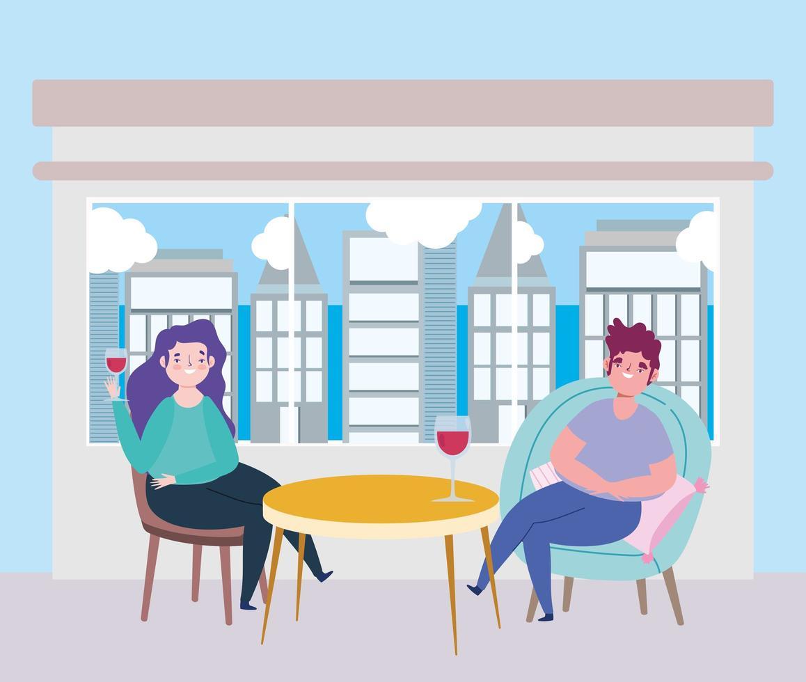 sociaal afstandelijk restaurant of een café, stel met wijnbekers op tafel, covid 19 coronavirus, nieuw normaal leven vector