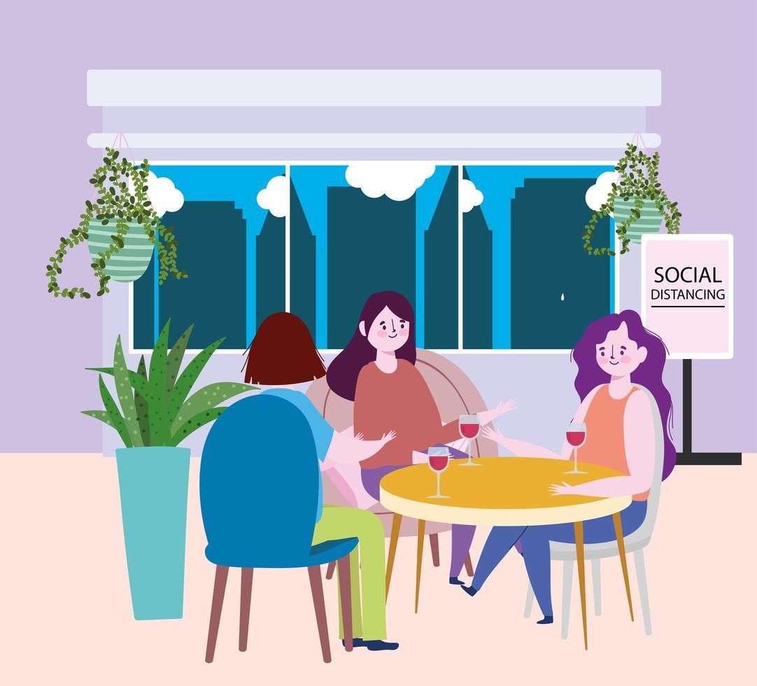 sociaal afstandelijk restaurant of een café, groep vrouwen met glas wijn in tafel, covid 19 coronavirus, nieuw normaal leven vector