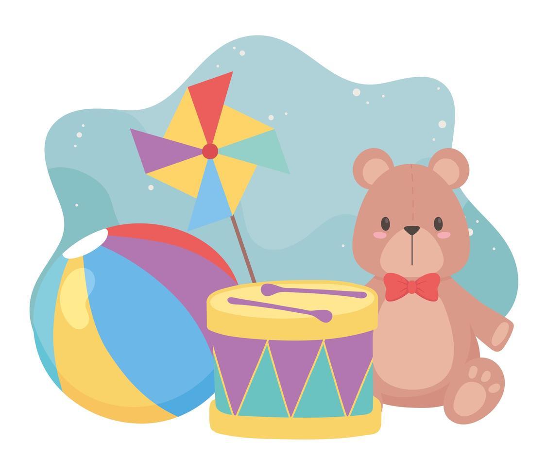 kinderspeelgoed object grappige cartoon teddybeer trommelbal en vuurrad vector
