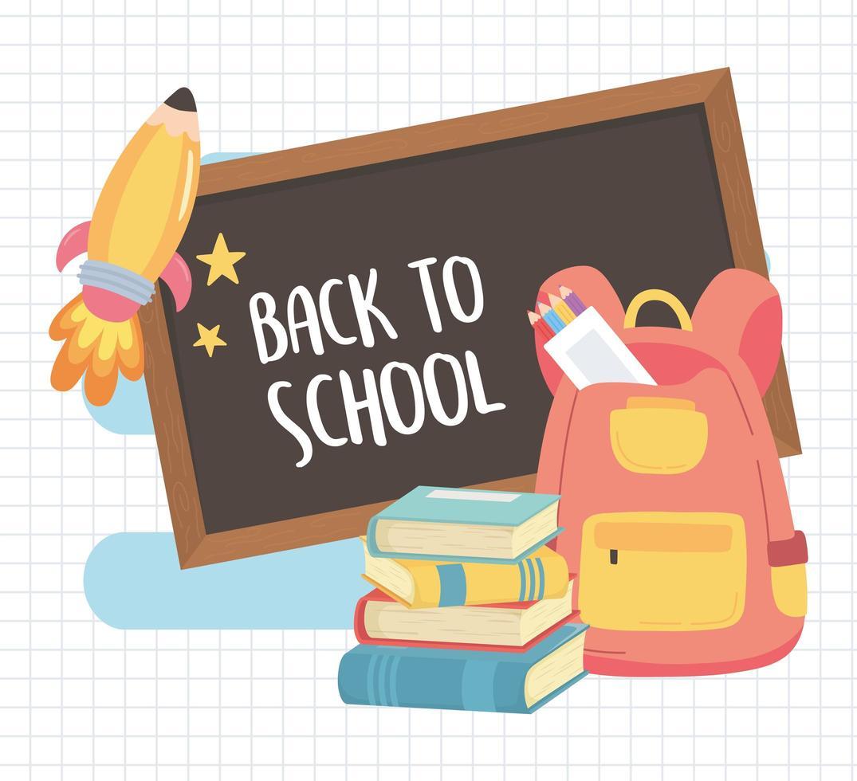 terug naar school, rugzak schoolbord boeken en kleurpotloden onderwijs cartoon vector