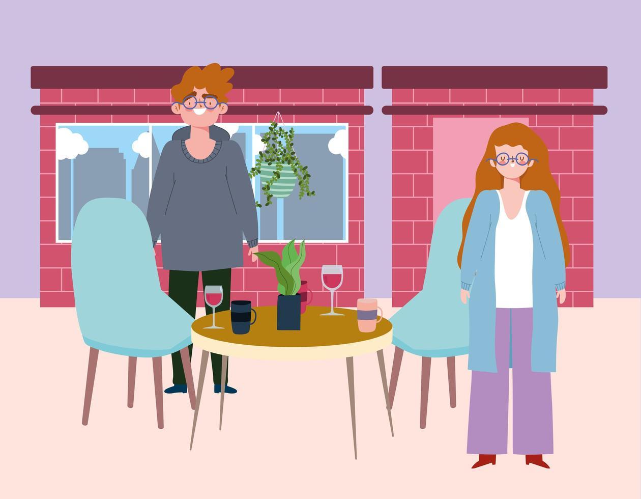 sociaal afstandelijk restaurant of een café, man en vrouw houden afstand met wijnglazen en koffiekopjes, covid 19 coronavirus, nieuw normaal leven vector